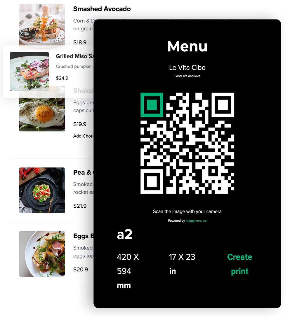 QR Code with menu
